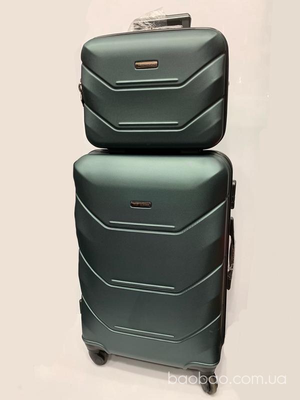 Изображение товара: Чемодан small, фирмы wings 147 Green в комплекте с бьюти кейсом
