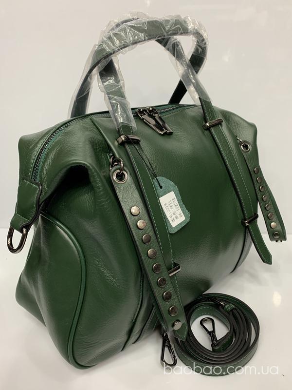 Изображение товара: 2218# - саквояж зелёного цвета из натуральной кожи.