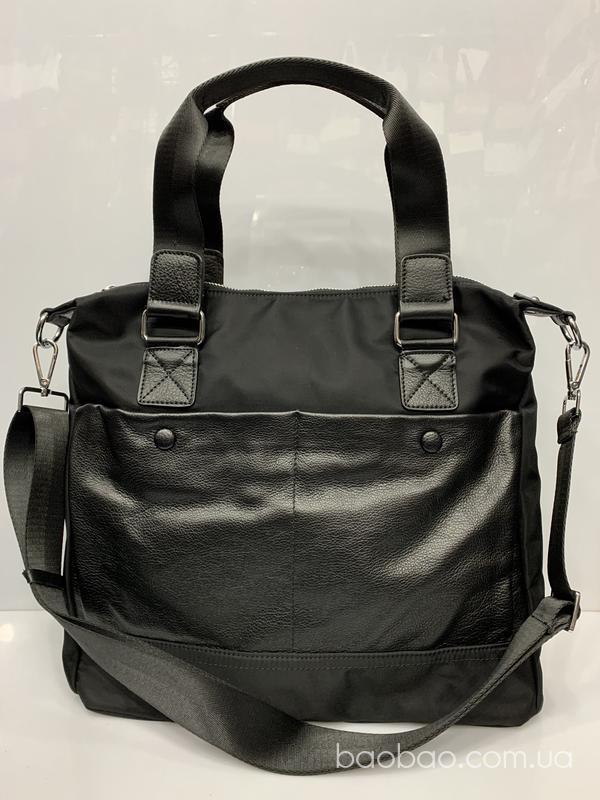 Сумка #716- сумка- тоут,  кожа + плащёвка