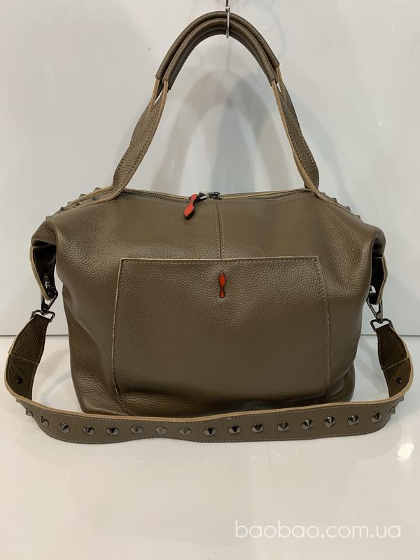 Изображение товара: Мягкий саквояж, сумка из телячьей кожи темно бежевого цвета