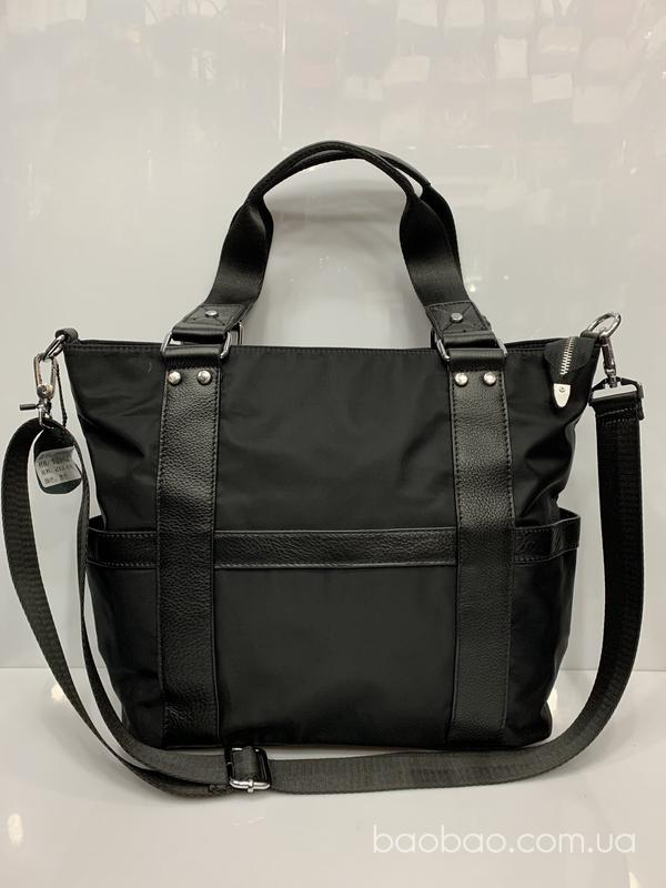 Изображение товара: 0936# - А4 Черная сумка- тоут из кожи и плащёвки