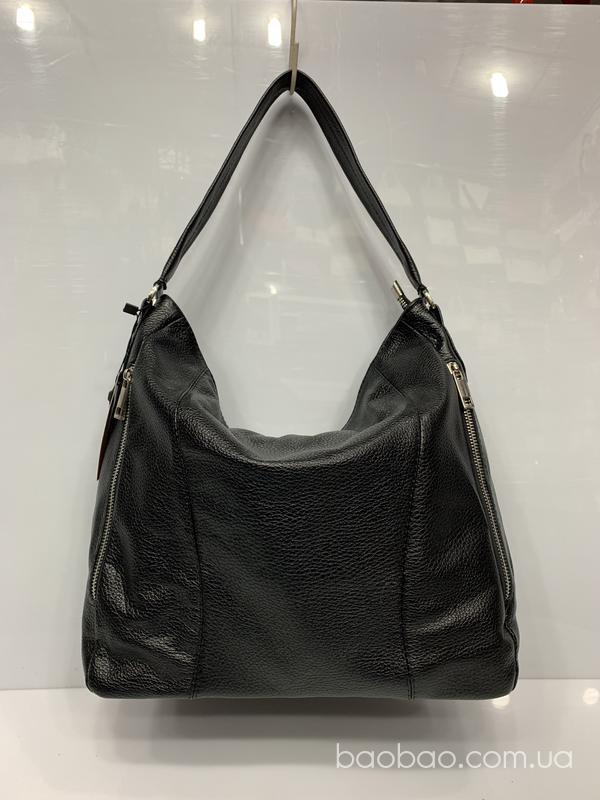 Изображение товара: #1056 - чёрная кожаная сумка- мешок, hobo