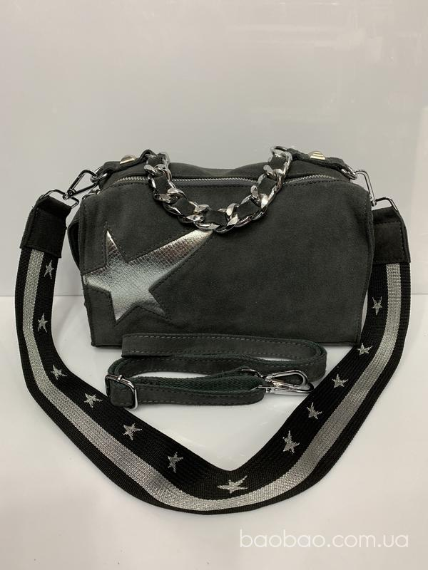 M8035Dgrey — замшевая сумочка с *падающей звездой*